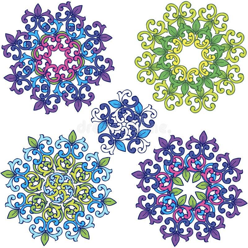 Modèle rond d'ornement de fleur Ensemble de mandalas colorés photographie stock