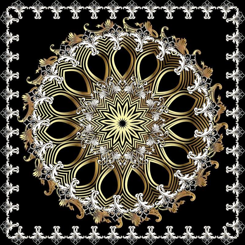 Modèle rond de mandala de cru ornemental baroque Ornement floral d'élégance dans le style victorien Cadre baroque de place feuill illustration libre de droits