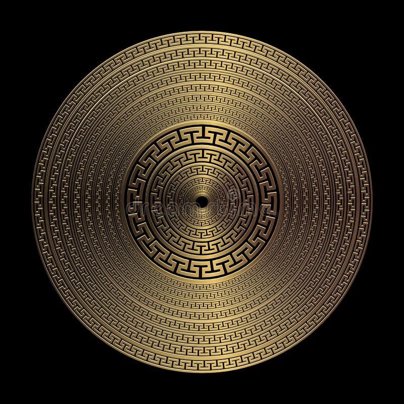 Modèle rond de mandala de vecteur grec géométrique de l'or 3d Fond abstrait texturisé ornemental de plat Radial vibrant extérieur illustration de vecteur