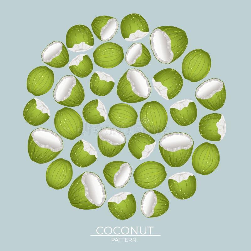 Modèle rond des écrous verts de noix de coco sur un fond bleu illustration de vecteur