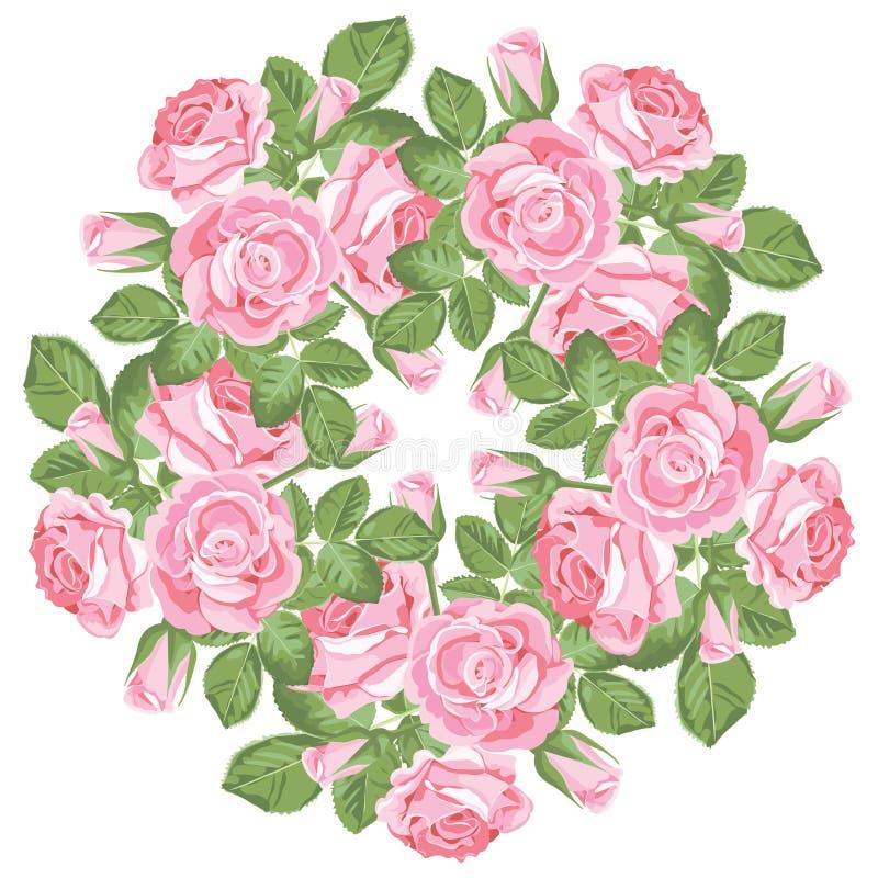 Modèle rond floral sur le fond blanc Roses roses réalistes illustration stock