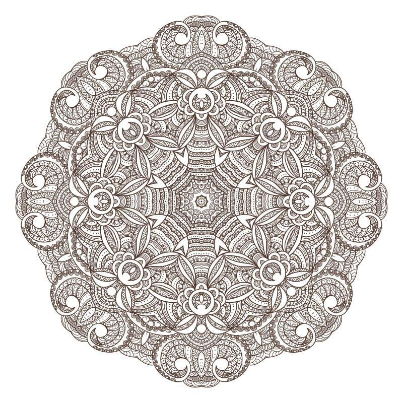 Modèle rond ornemental de dentelle illustration de vecteur