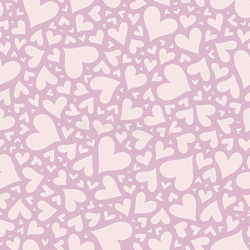 Modèle rose élégant sans couture de Valentine avec des coeurs illustration libre de droits