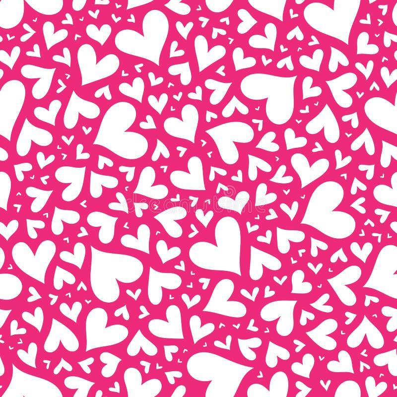 Modèle rose élégant sans couture de Valentine avec des coeurs illustration de vecteur