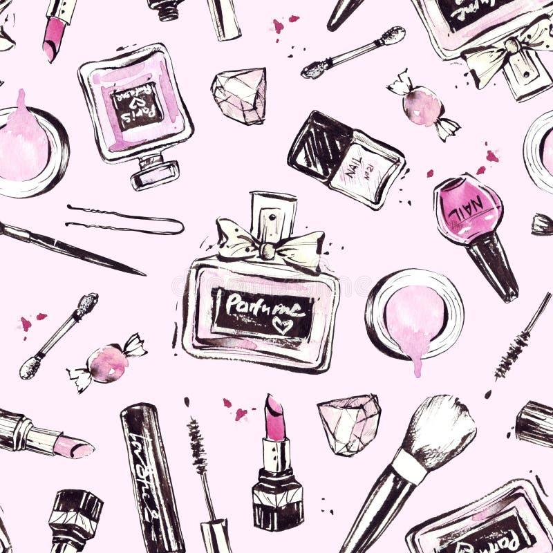 Modèle rose avec des cosmétiques tirés par la main illustration libre de droits