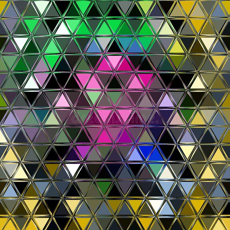Modèle rose de Blum, vert, bleu et jaune géométrique Fond mignon de triangle de mosaïque illustration de vecteur