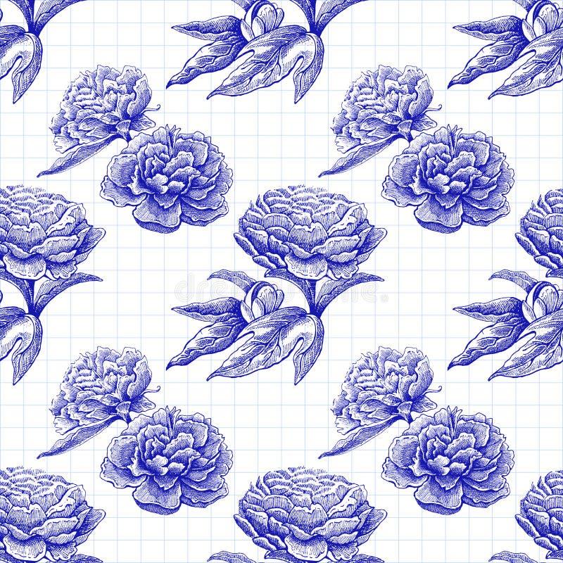 Modèle rose de vecteur de pivoine sans couture de fleur avec des fleurs et des feuilles de croquis Image tirée par la main illustration libre de droits