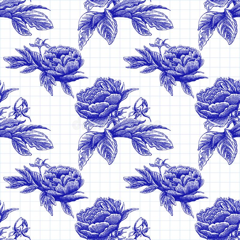 Modèle rose de vecteur de pivoine sans couture de fleur avec des fleurs et des feuilles de croquis Image tirée par la main illustration de vecteur