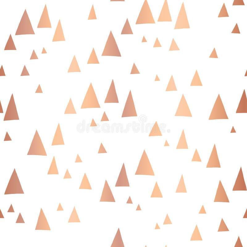 Modèle rose dispersé de vecteur de triangles de feuille d'or illustration stock