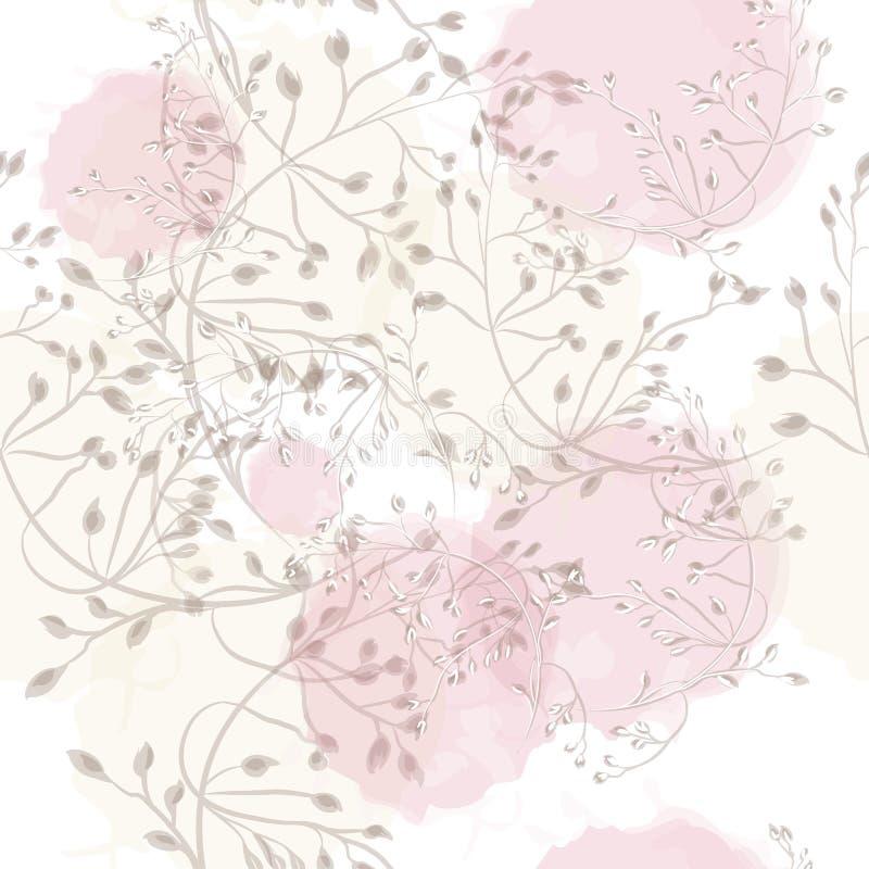 Modèle rose floral avec les usines élégantes illustration stock