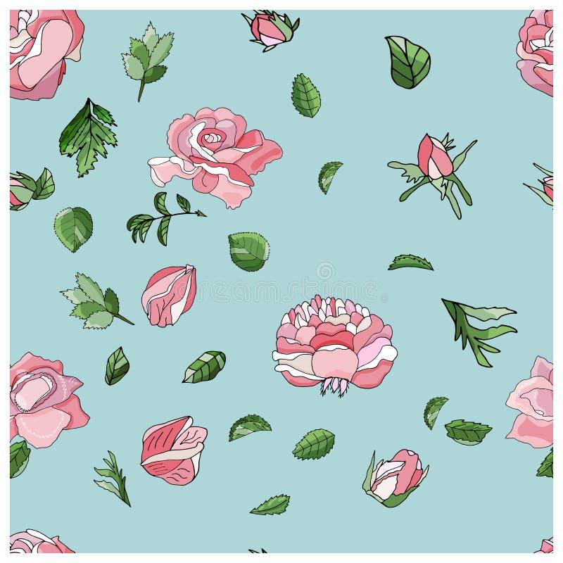 Modèle rose sans couture à la mode dans le vecteur illustration libre de droits