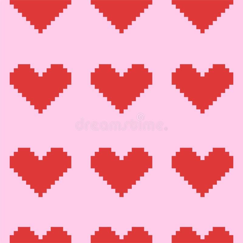 Modèle rose sans couture avec les coeurs rouges de pixel Dessins de vecteur illustration de vecteur