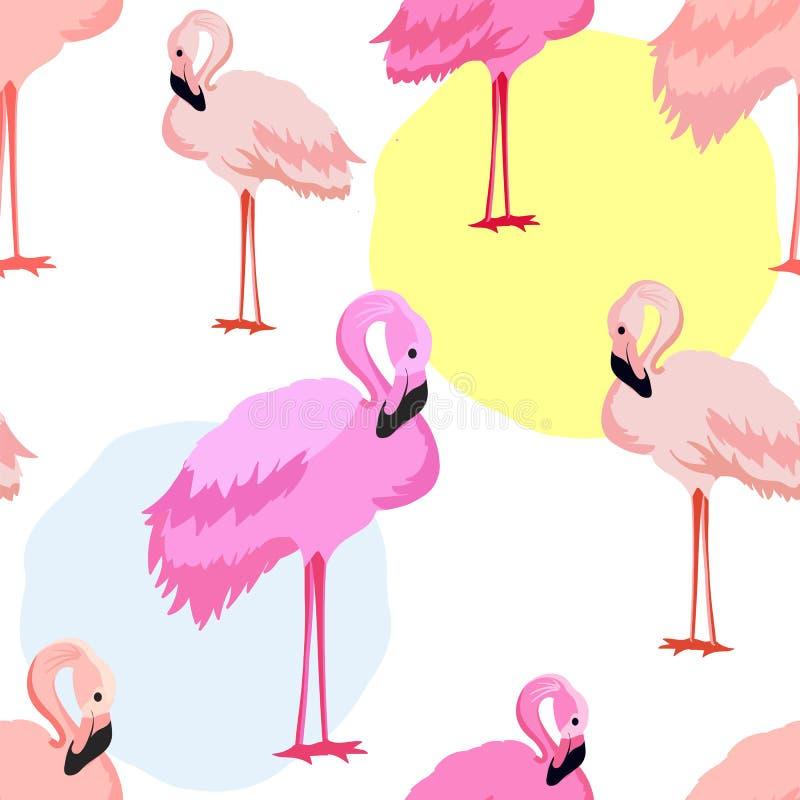 Modèle rose sans couture mignon de flamants illustration libre de droits