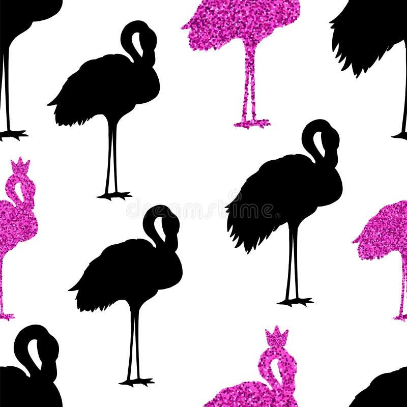 Modèle rose sans couture mignon de flamants sur un fond blanc illustration stock