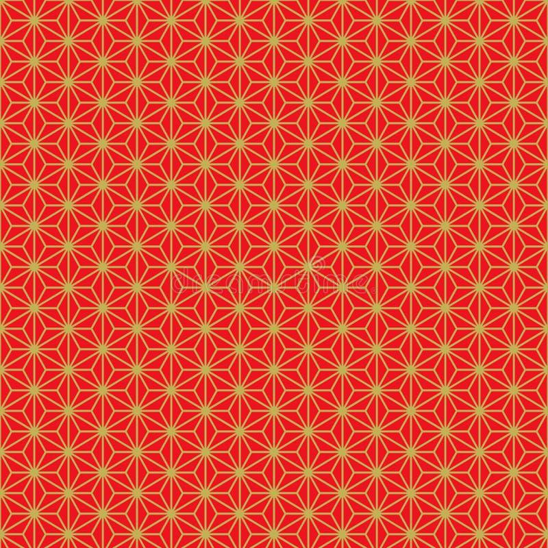 Modèle rouge d'or traditionnel de filigrane de la géométrie de style chinois sans couture illustration stock