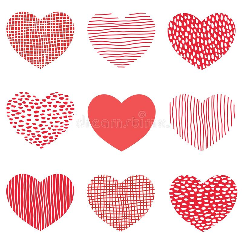Modèle rouge de coeurs de conception tirée par la main d'art d'icônes de coeur de croquis pour le Saint Valentin illustration de vecteur