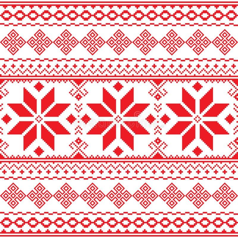 Modèle rouge folklorique traditionnel de broderie d'Ukraine ou le Belarus - Vyshyvanka illustration de vecteur