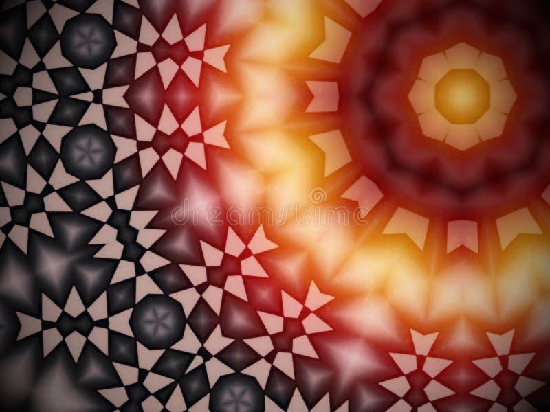 Modèle rougeoyant géométrique radial avec des couleurs chaudes illustration libre de droits