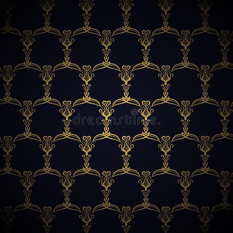 Modèle royal d'or sur le fond bleu illustration stock