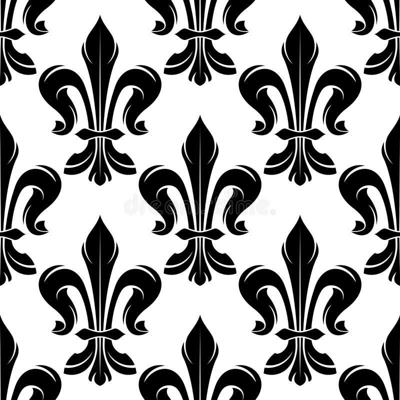 Modèle royal de fleur de lis noire et blanche illustration stock