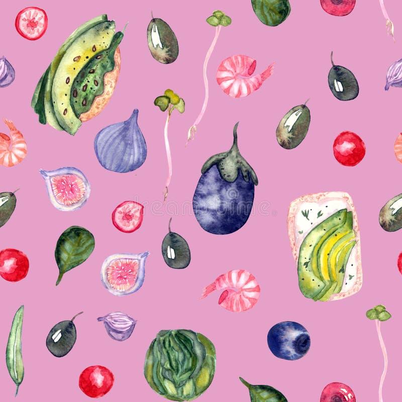 Modèle sain d'aquarelle de nourriture illustration stock