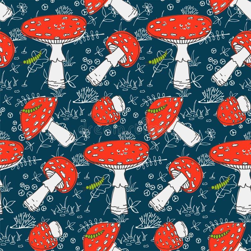 Modèle saisonnier mignon sans couture avec des champignons de forêt illustration libre de droits
