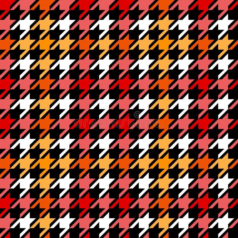 Modèle sans couture à carreaux de pied-de-poule en noir et blanc jaune rouge, vecteur illustration de vecteur