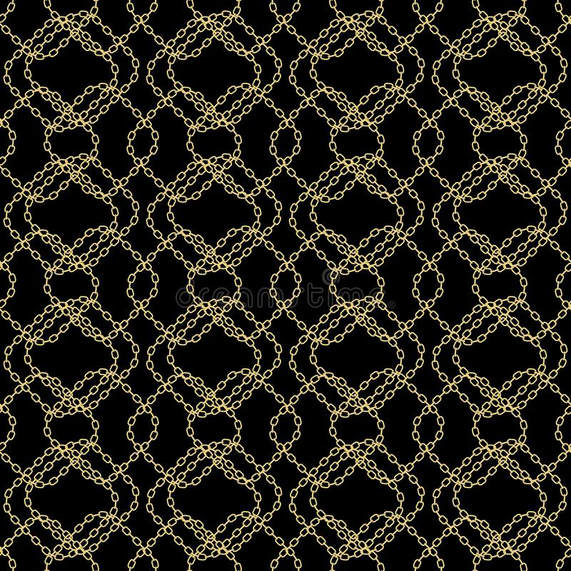 Modèle sans couture à chaînes d'Art Deco Style Textured Golden Collier d'or répétant le fond de vecteur Conception de tissu peut  illustration stock