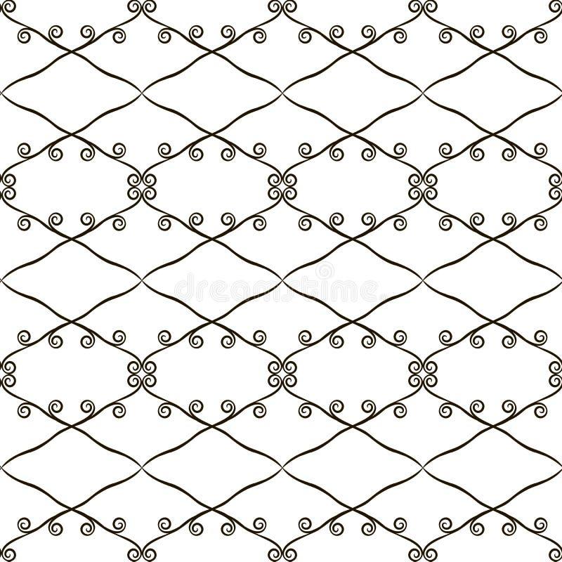 Modèle sans couture à jour contrastant noir et blanc des losanges et du rétro fond de vecteur de boucles illustration libre de droits
