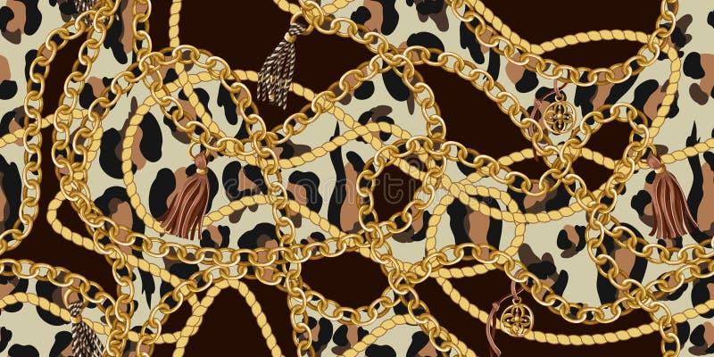 Modèle sans couture à la mode avec des chaînes d'or et corde sur la peau de léopard Vecteur illustration stock