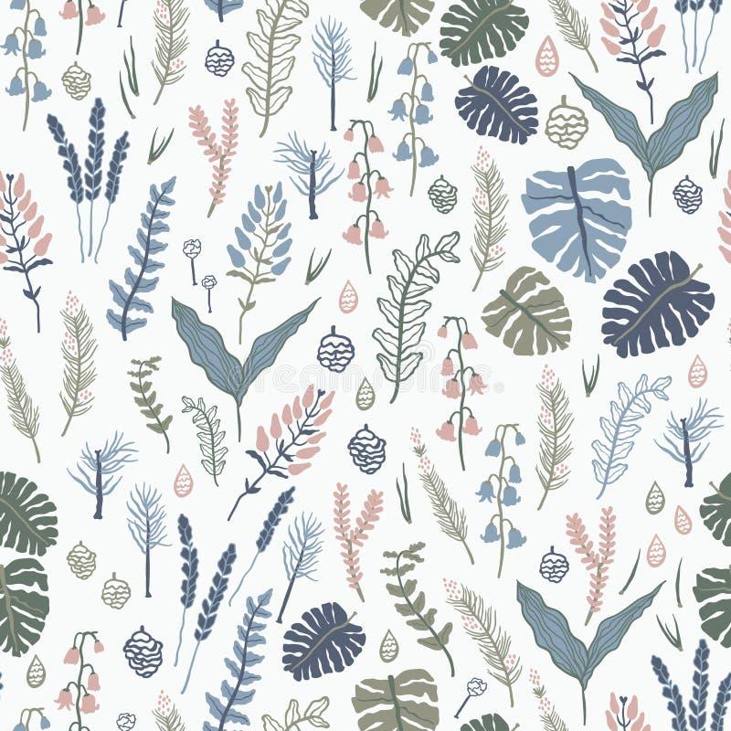 Modèle sans couture à la mode avec des usines, des feuilles, des graines et des cônes de forêt illustration libre de droits
