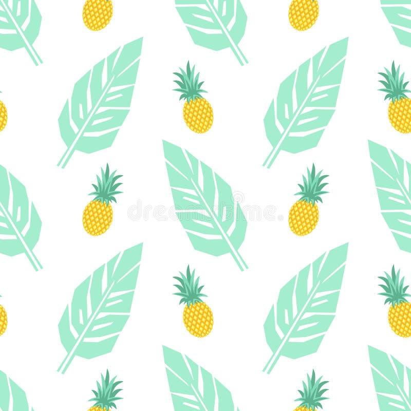 Modèle sans couture à la mode tropical avec des ananas et des palmettes vertes en bon état sur le fond blanc illustration stock