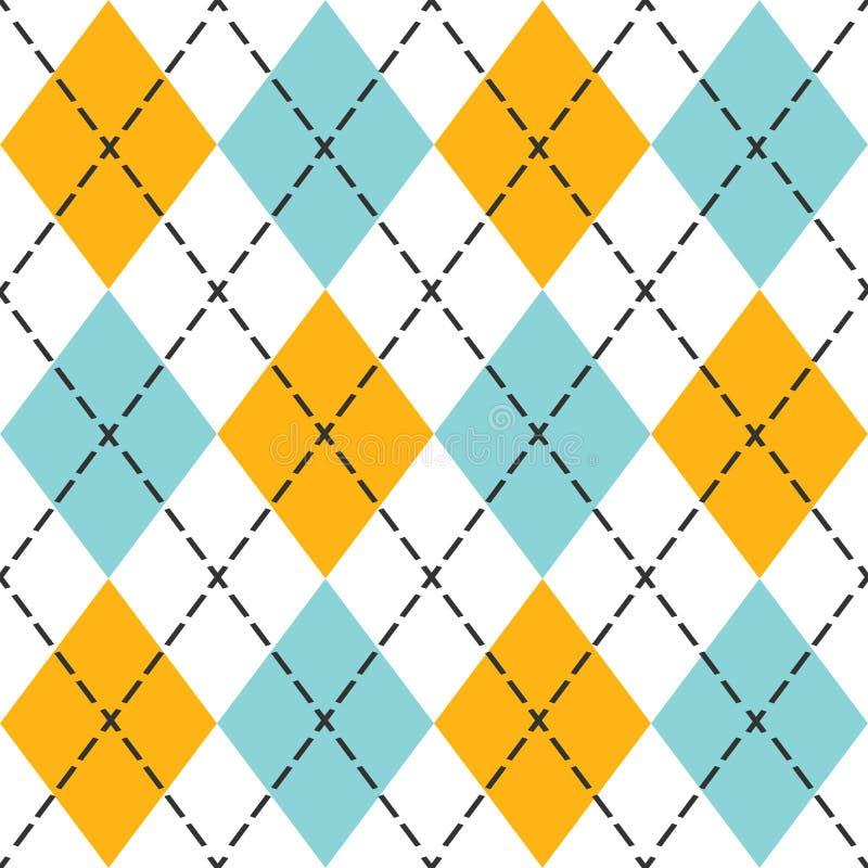 Modèle sans couture à motifs de losanges à la mode bleu et orange illustration libre de droits