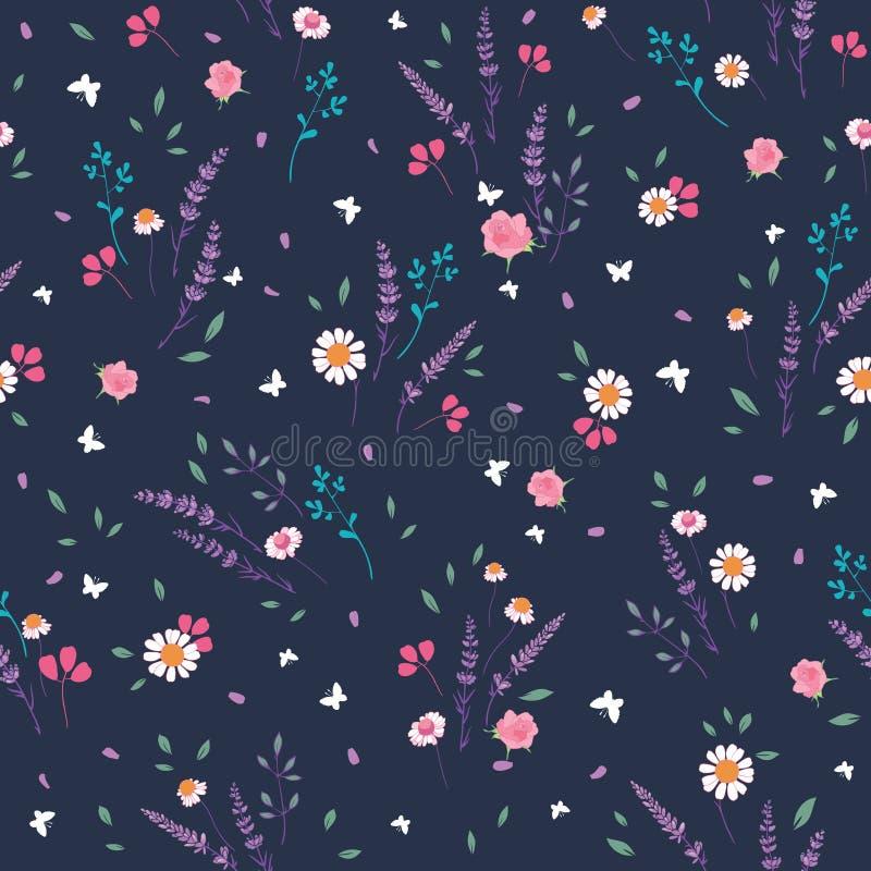 Modèle sans couture écervelé gris rose de roses et de marguerites illustration libre de droits