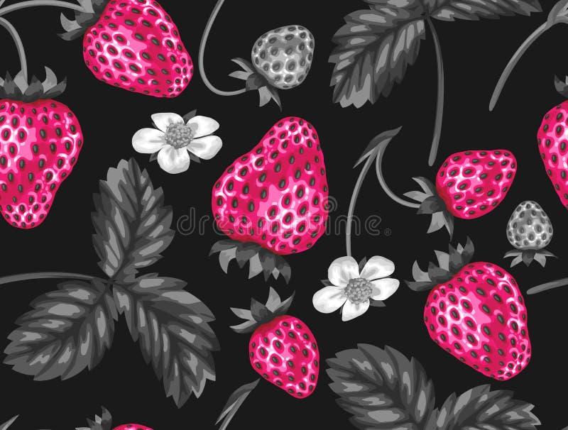 Modèle sans couture abstrait avec des fraises dans un style d'art de bruit illustration libre de droits