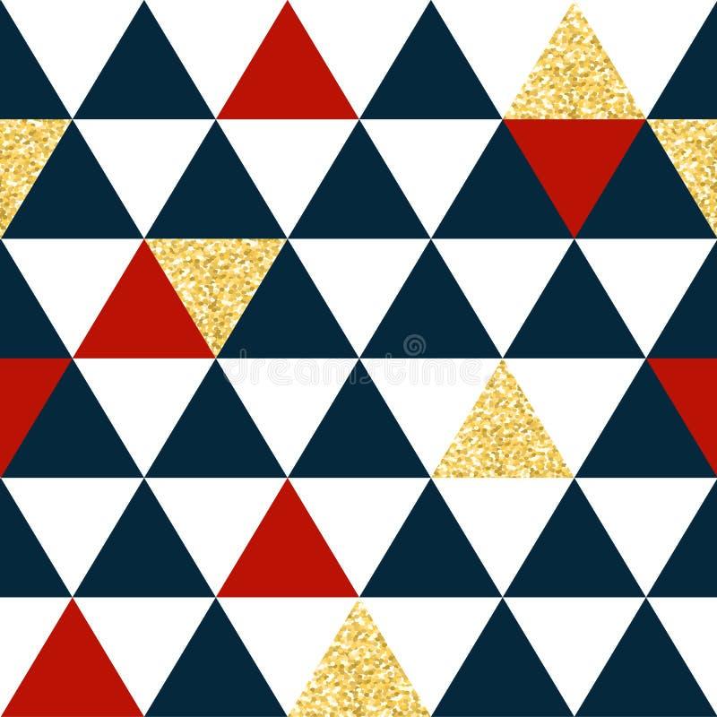 Modèle sans couture abstrait avec des triangles en rouge, l'or et bleu-foncé illustration libre de droits
