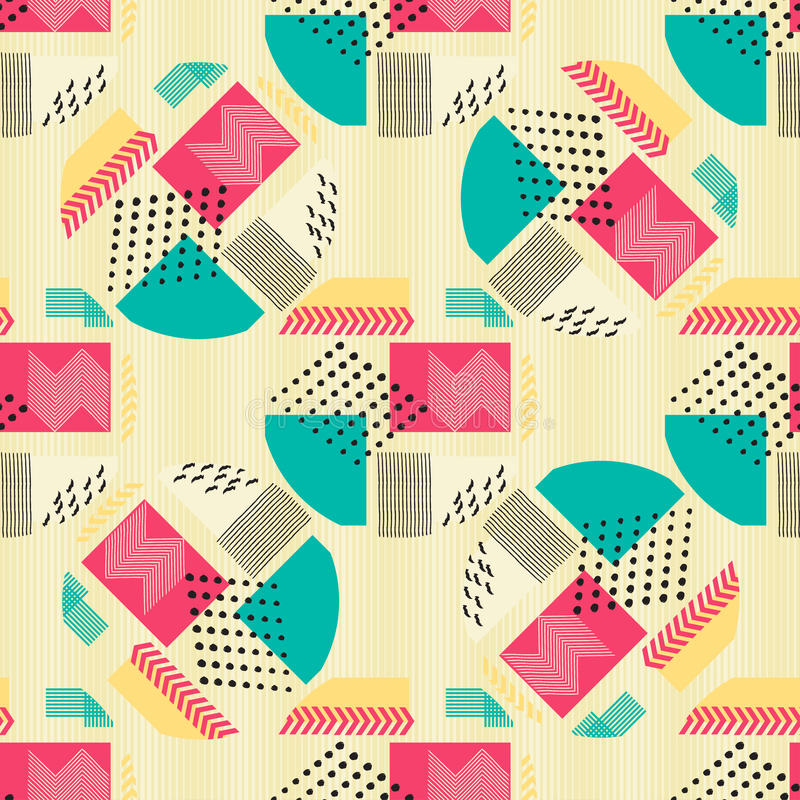 Modèle sans couture abstrait avec les chiffres géométriques sur le fond beige Composition géométrique pour la copie sur le papier illustration stock