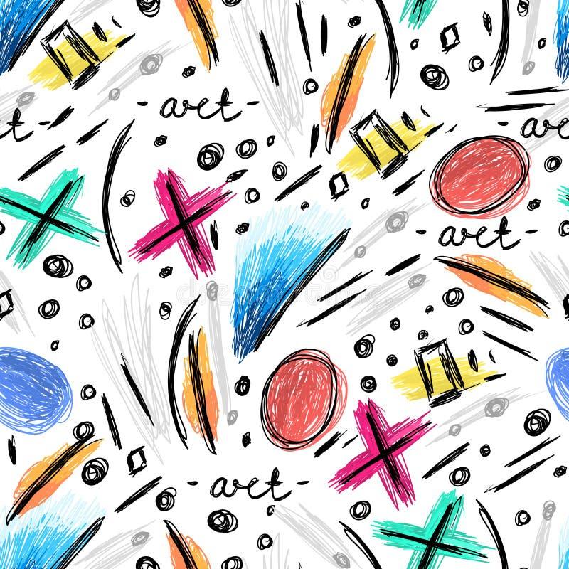 Modèle sans couture abstrait avec les griffonnages tirés par la main, griffonnages délabrés Art moderne Fond cr?ateur illustration libre de droits