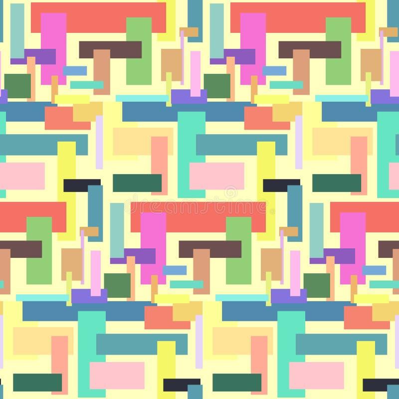 Modèle sans couture abstrait coloré avec des rectangles illustration de vecteur