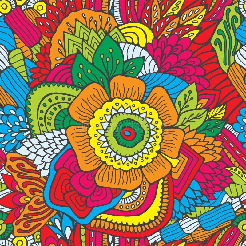 Modèle sans couture abstrait courant avec des fleurs et des vagues illustration libre de droits