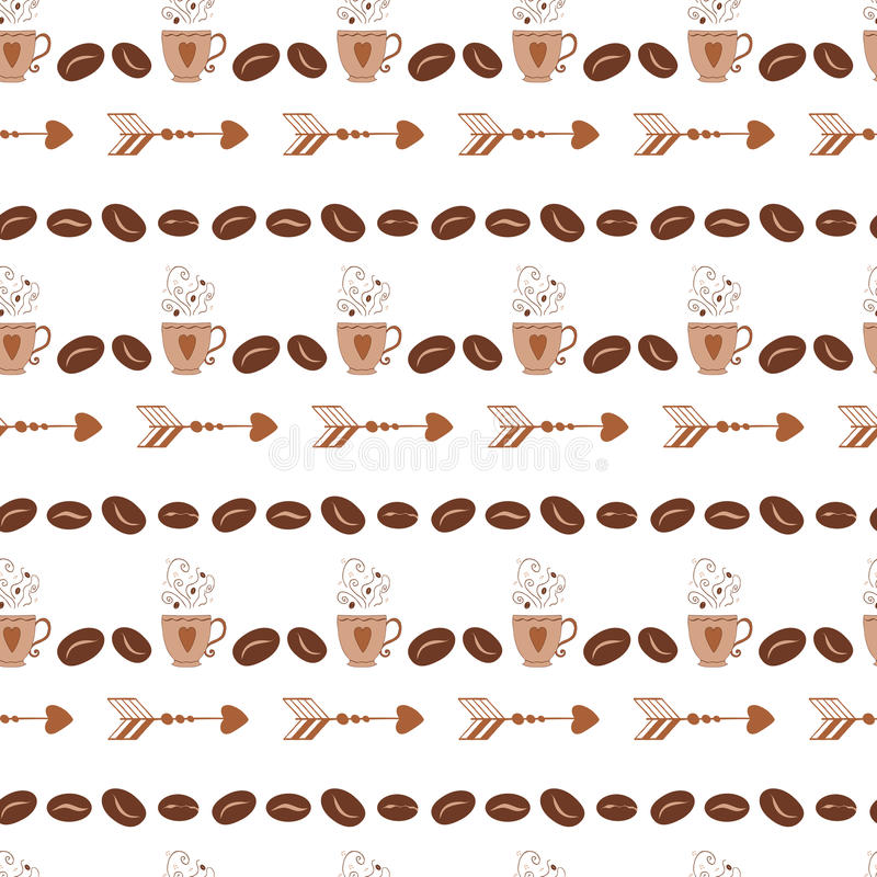 Modèle sans couture abstrait dans le rétro style avec le grain de café, tasse, tasse, flèche illustration de vecteur