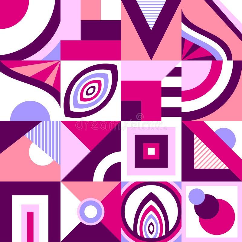 Modèle sans couture abstrait dans le style géométrique primitif de forme ou de mosaïque dans le lilas rose illustration libre de droits