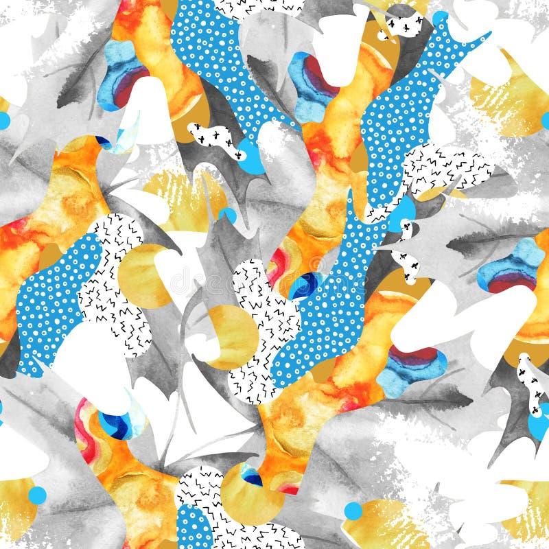 Modèle sans couture abstrait de feuille d'automne rempli de formes liquides, élément grunge minimal, griffonnage illustration stock