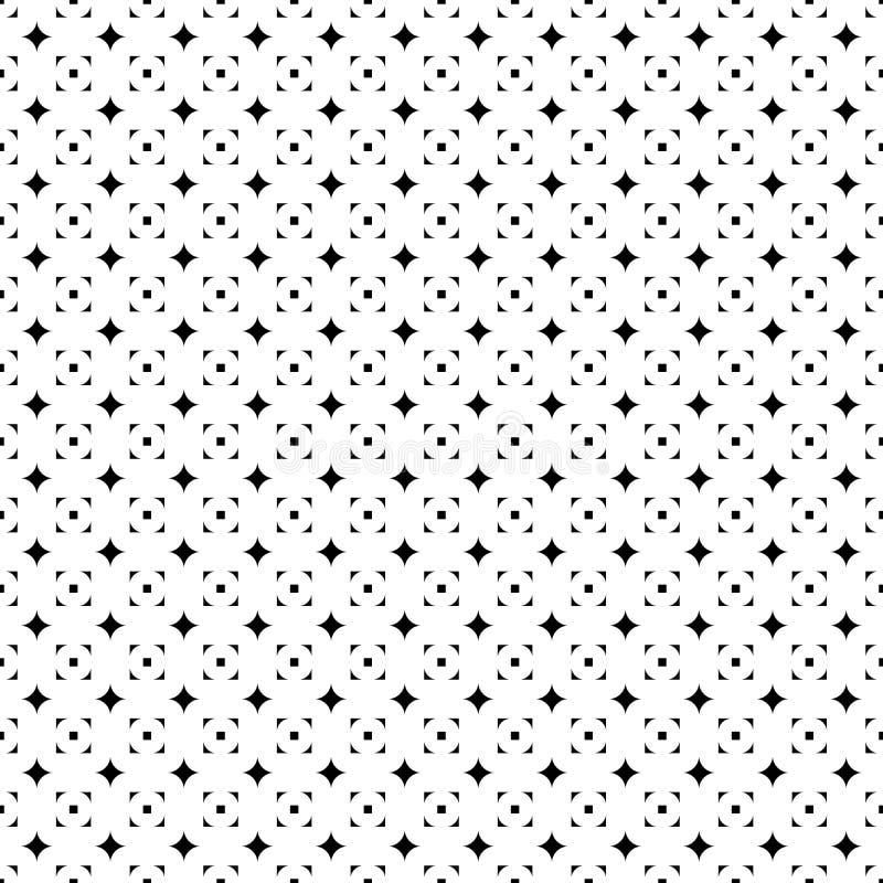 Modèle sans couture abstrait de la grille des étoiles et des places Texture géométrique noire et blanche simple pour le tissu Vec illustration de vecteur