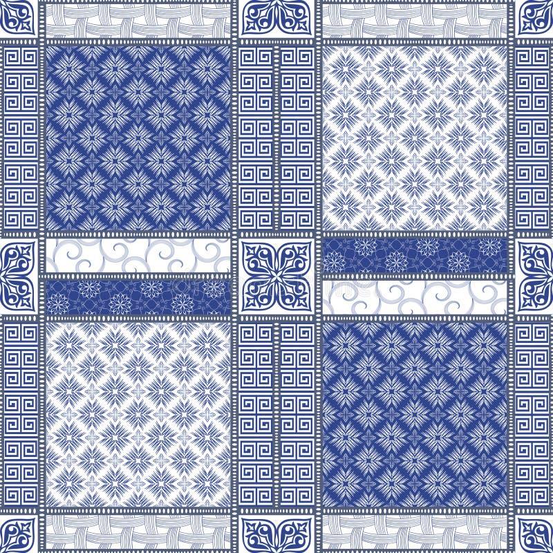 Modèle sans couture abstrait de patchwork de vecteur illustration stock