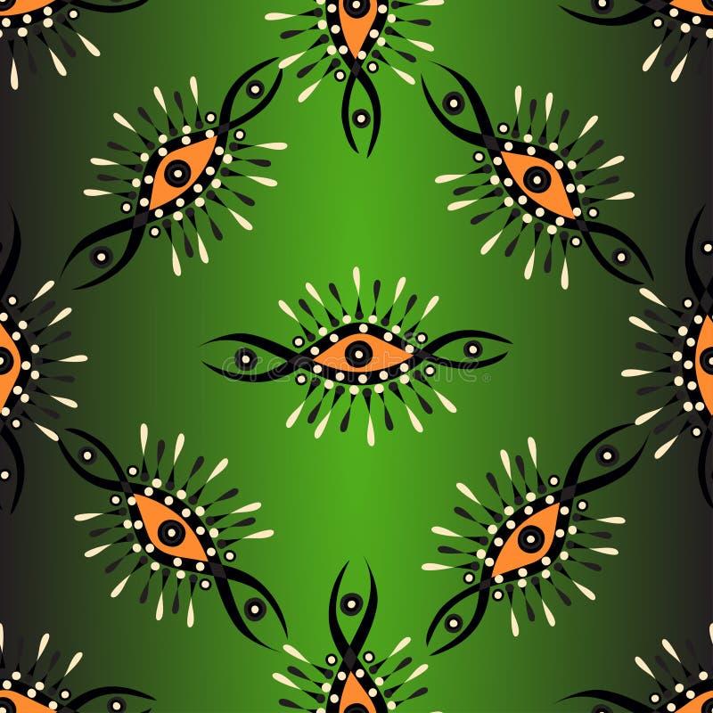 Modèle sans couture abstrait de vecteur sur un fond vert avec le contre-jour illustration de vecteur