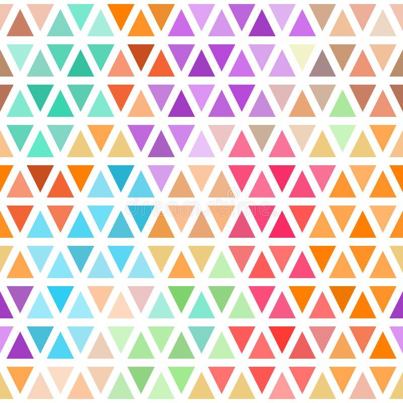 Modèle sans couture abstrait des triangles colorées lumineuses sur le blanc illustration de vecteur