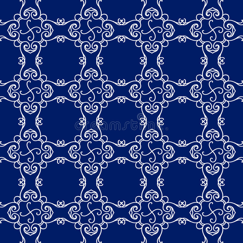Modèle sans couture abstrait, fond d'ornement de vecteur de vintage, bleu et blanc images libres de droits