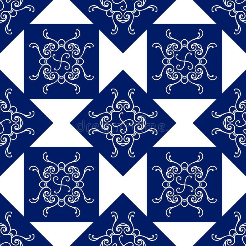 Modèle sans couture abstrait, fond d'ornement de vecteur de vintage, bleu et blanc photographie stock libre de droits