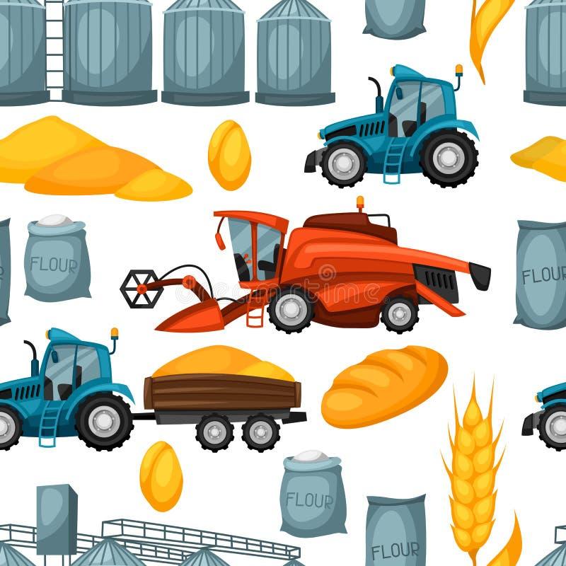 Modèle sans couture agricole avec moissonner des articles Moissonneuse de cartel, tracteur et grenier illustration libre de droits